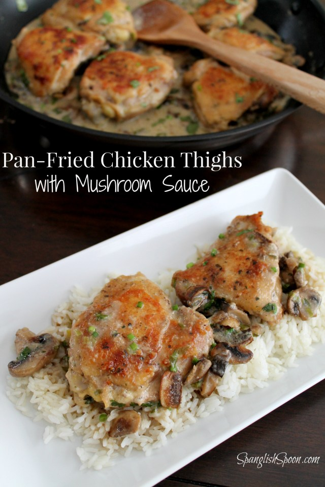 Pan-Fried Chicken Thighs in Mushroom Sauce