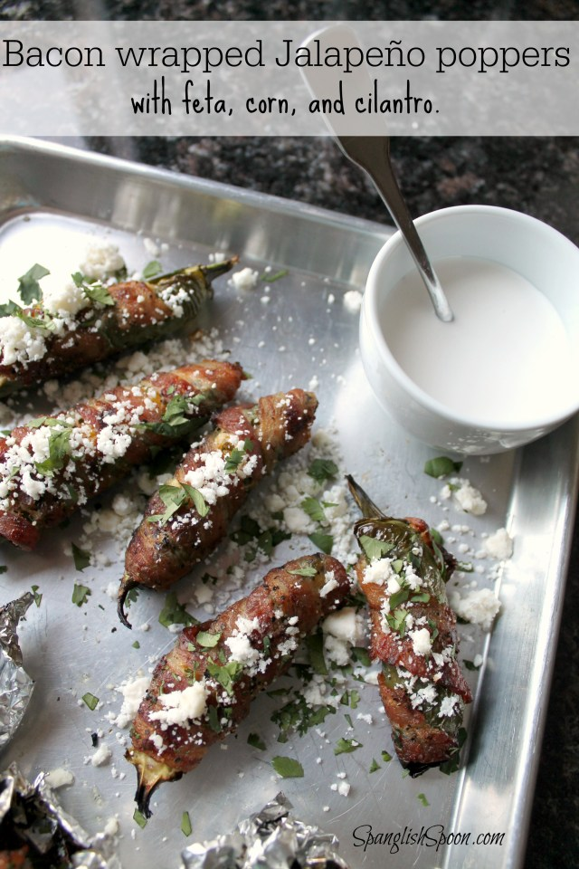 Bacon wrapped jalapenos with corn and feta cheese 18.2