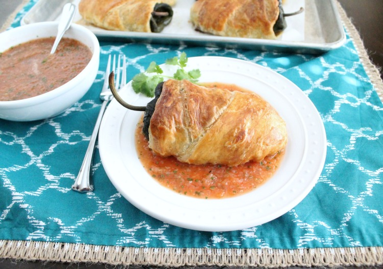 Baked chiles rellenos in pastry dough