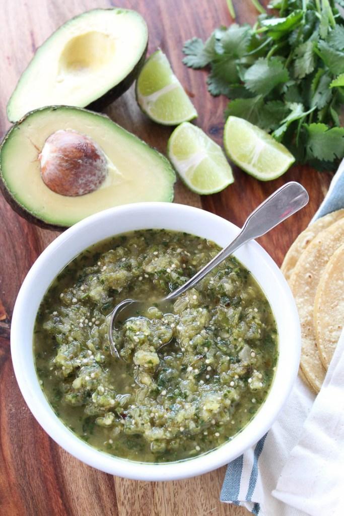 Chunky salsa verde and avocado tacos
