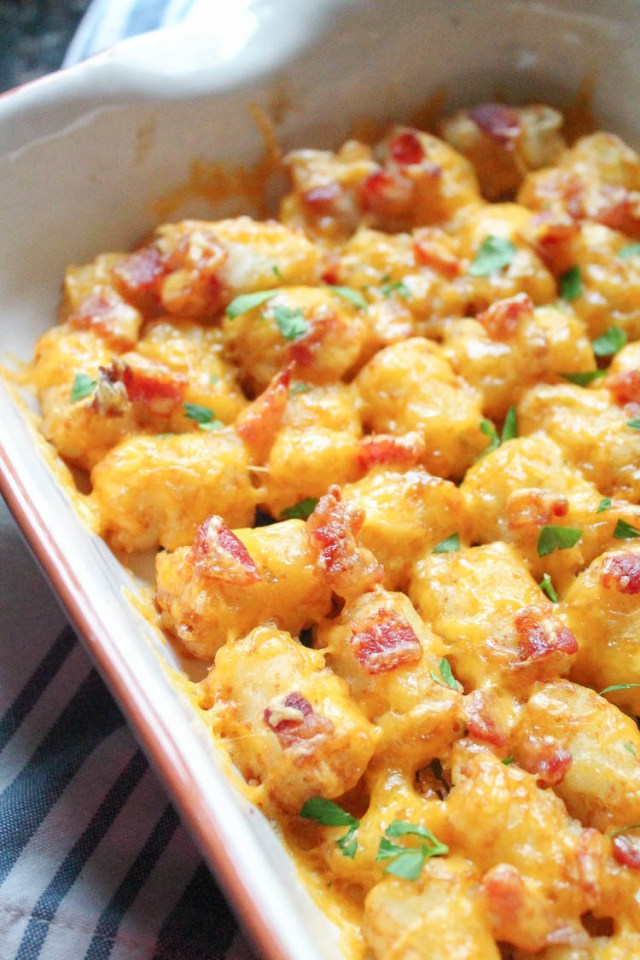 Baked Tater Tots with Bacon and Cheddar Cheese