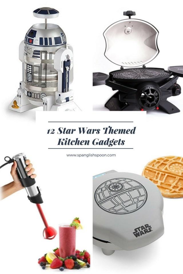 12 Star Wars Themed Kitchen Gadgets. R2-D2 French Press, TIE Fighter BBQ Grill, Light Saber Hand Blender, Death Star Waffle Maker