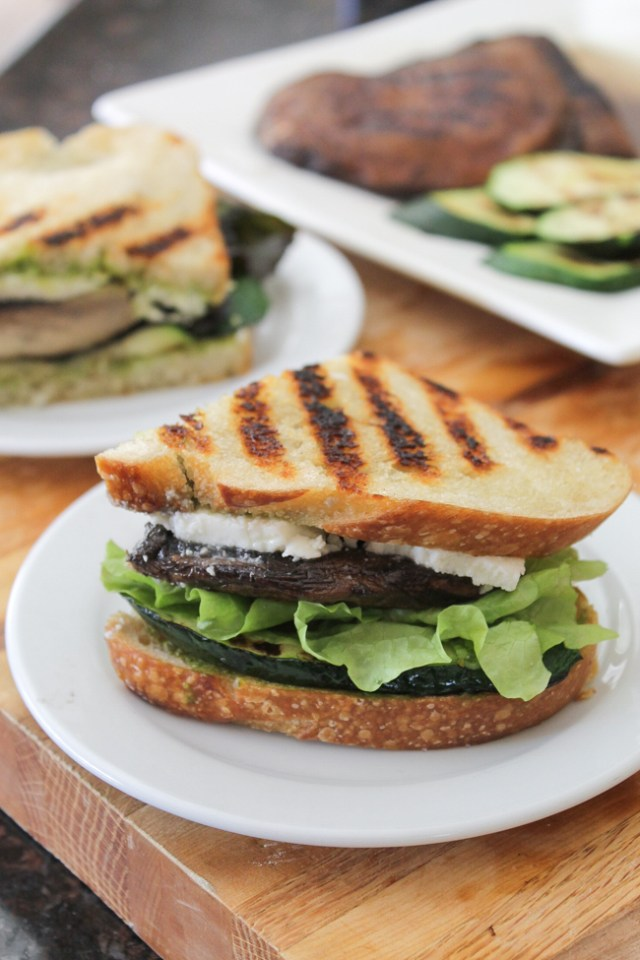 Grilled Zucchini and Portobello Mushroom Sandwich with Dairy-Free Low-Fat Cilantro Dressing