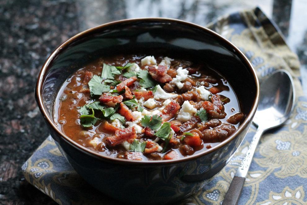 Lentil Soup with Red Mole Paste