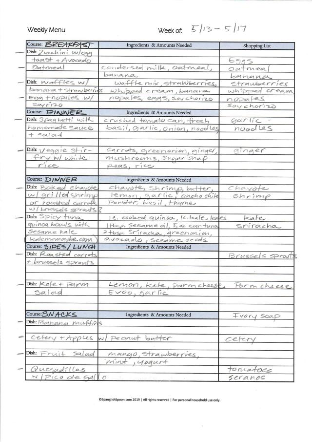 sample weekly meal plan form filled out.