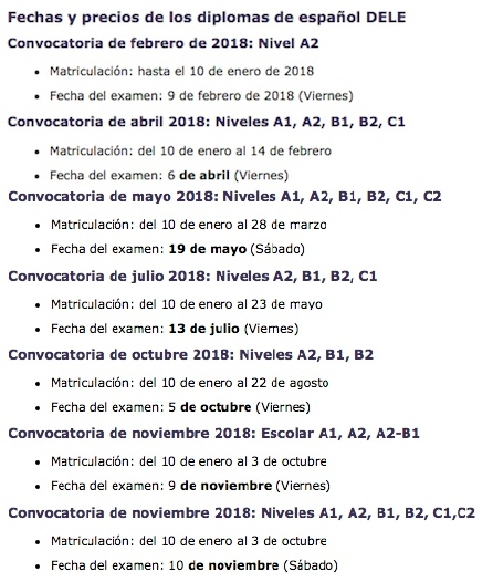 DELE 2018 fechas