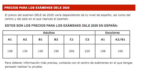 DELE-2020-precios-