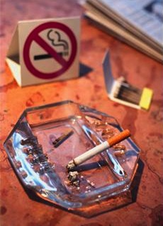 No smoking sign with ash tray