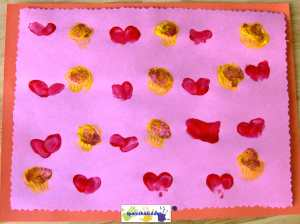 Finger-paint heart patterns