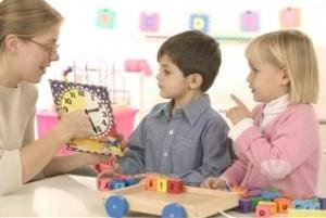 Teacher showing clock to children