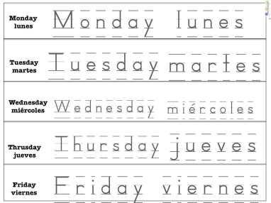 Printables Pre K Spanish Worksheets days of the week in spanish spanish4kiddos tutoring spanish