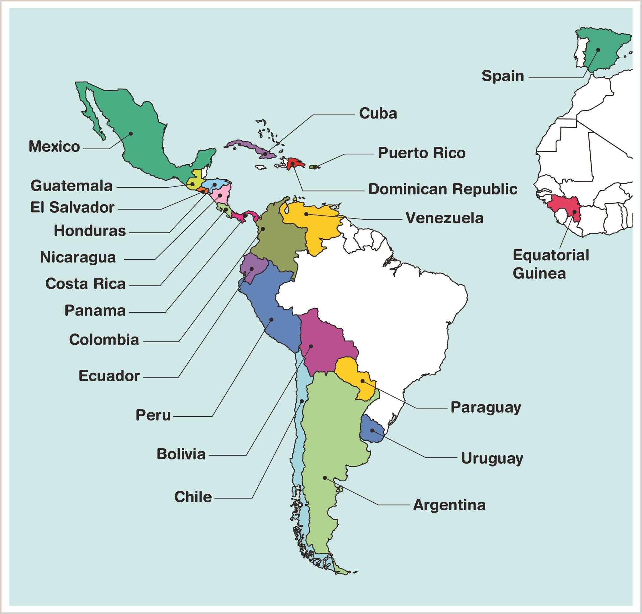 Map Of Countries That Speak Spanish