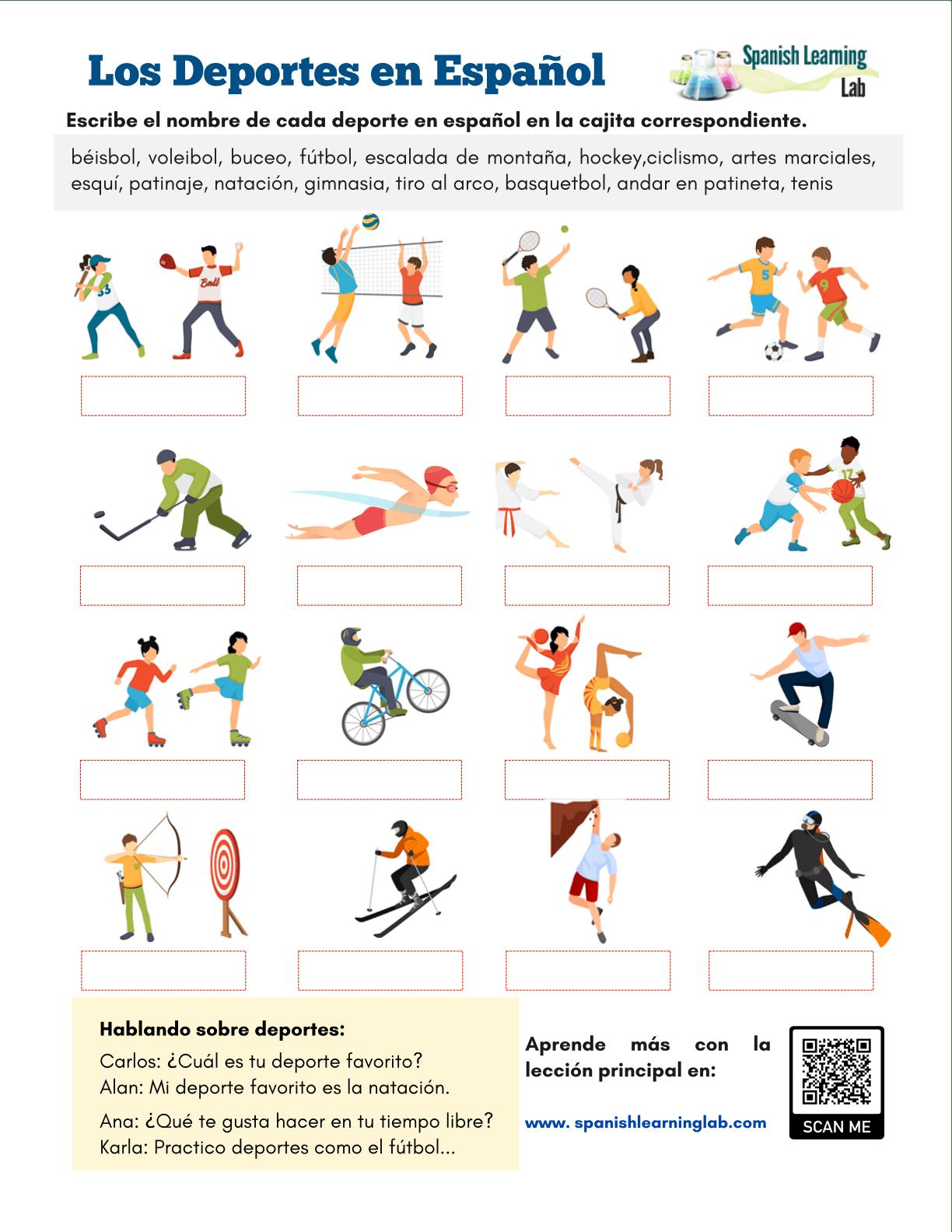 Los Deportes En Espanol Ejercicios En
