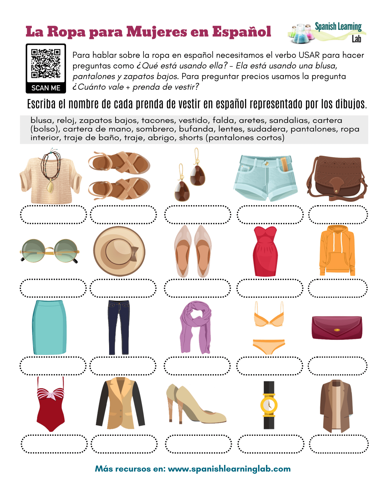 Women S Clothes In Spanish
