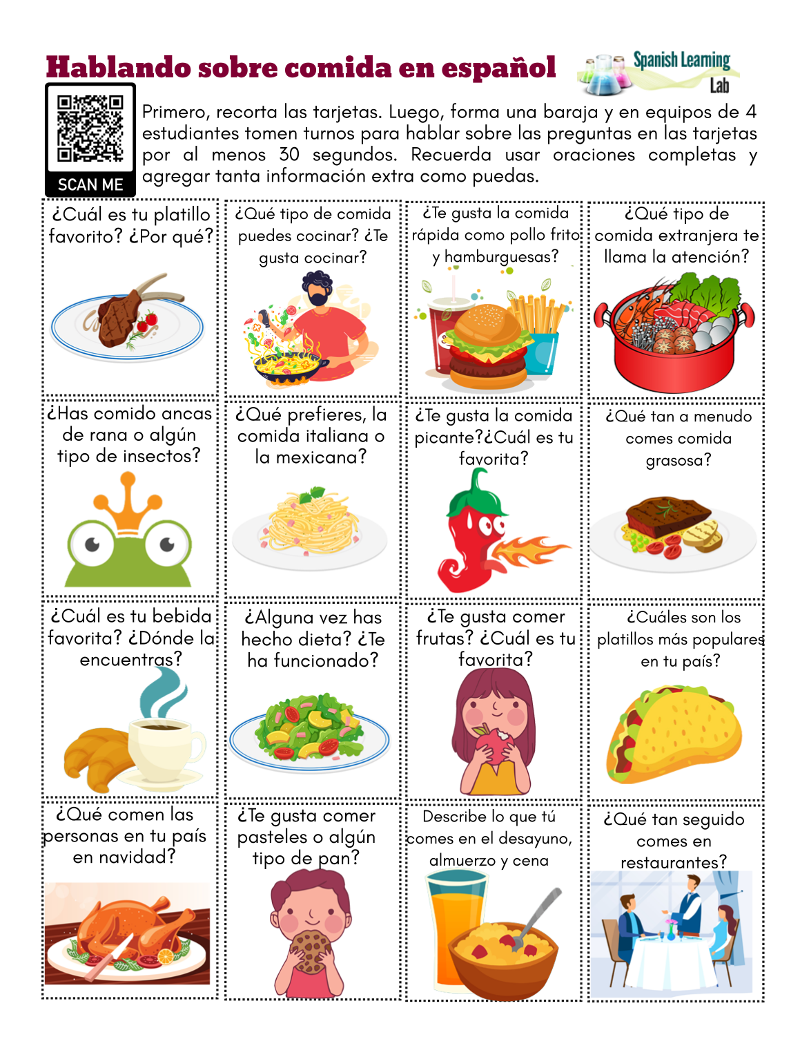 Food In Spanish Conversation Cards