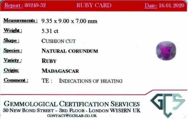 Loose Red Ruby Madagascar Oval faceted certificate GCS heated 5.31 carats