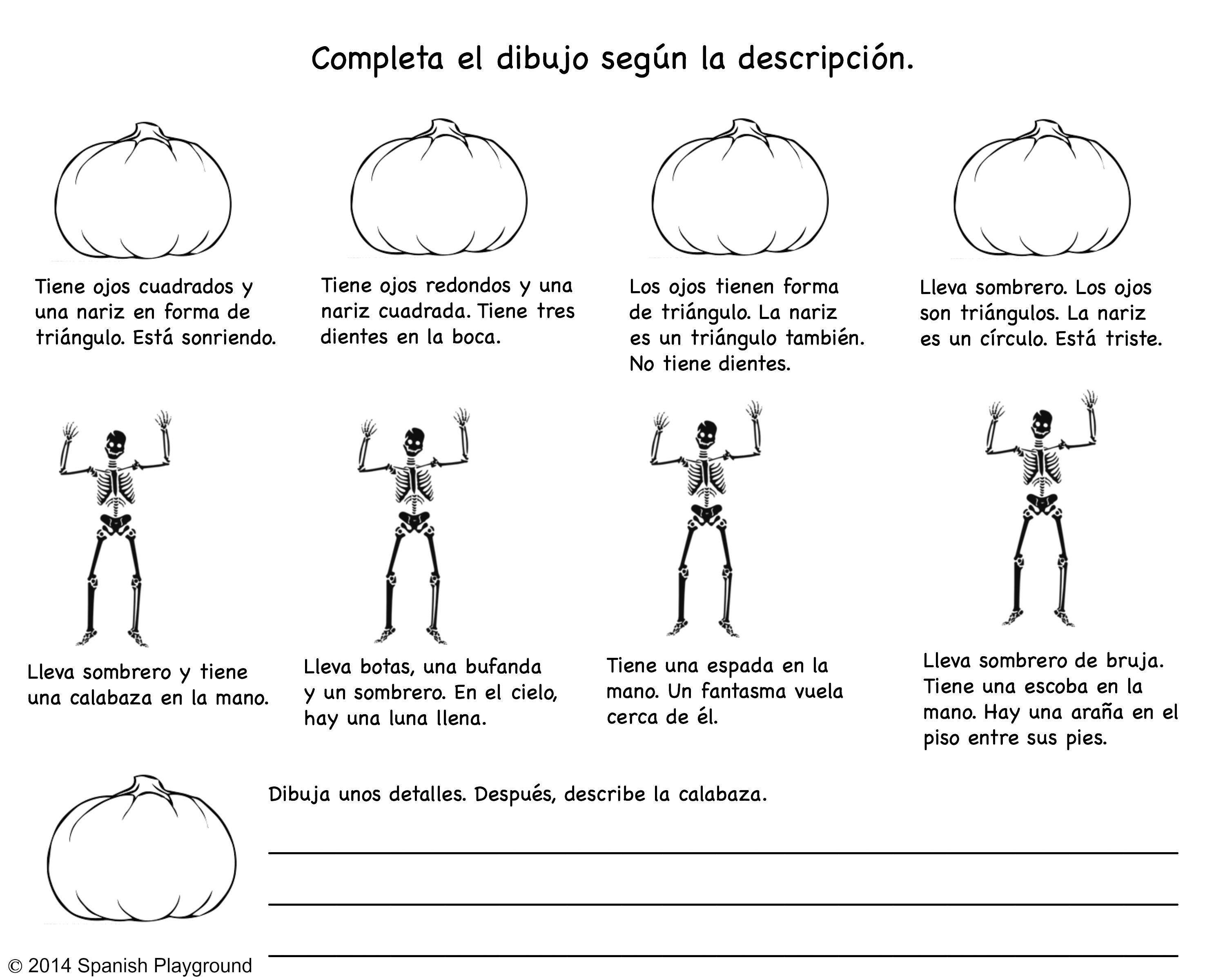 Spanish Halloween Read And Draw Printable