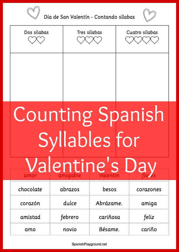 Spanish Syllable Counting Activity For Valentines Day