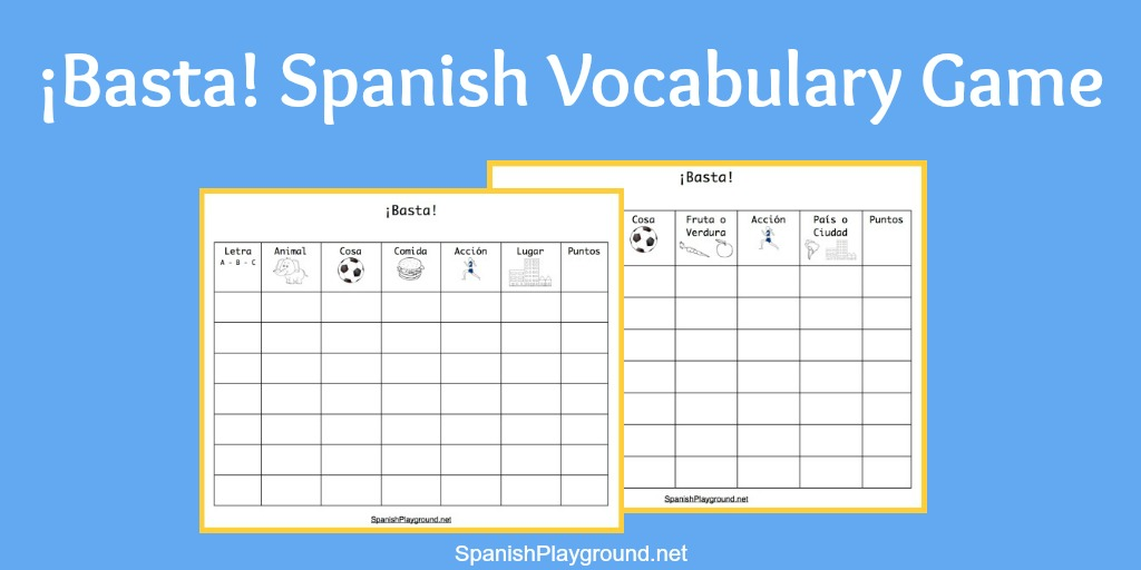 Basta Game For Spanish Vocabulary Practice Spanish