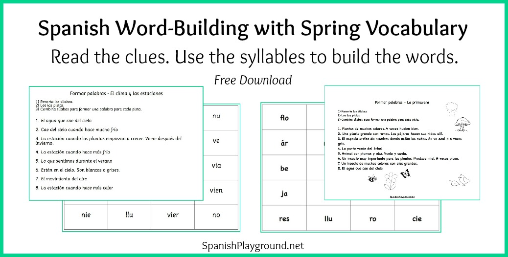 Spanish Word Building Game With Spring Vocabulary