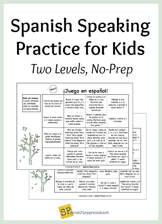 Spanish Speaking Practice For Kids Spanish Playground