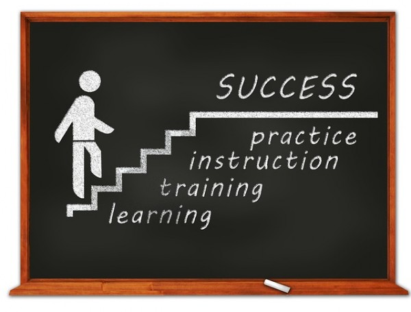 Success, practice, instruction, training, learning
