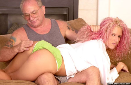 Girl with pink hair gets bared and spanked OTK by olf man