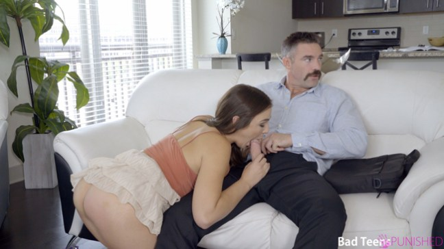 Blair Williams sucks her step dad's cock at Bad Teens Punished