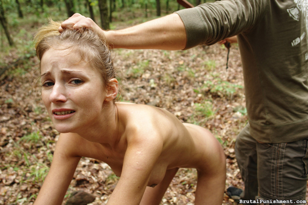 Amy is punished in the woods naked by her strict master