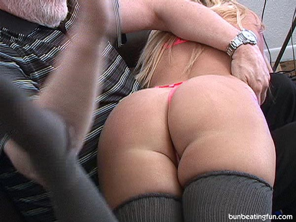 Mya is pulled OTK with her big bottom only wearing a g-string