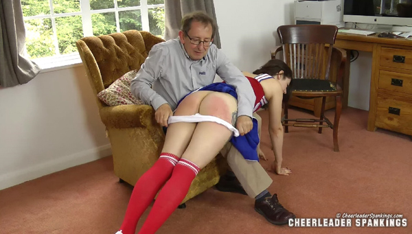 Daddy pulls down naughty Katie's white panties