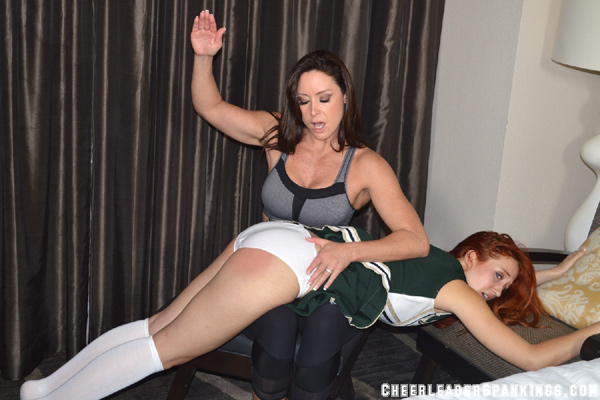 Hot new Cheerleading Coach, Christina Carter, spanks Luna over her white panties