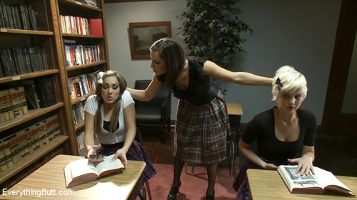 Teacher Bobbi Starr catches Kiera King and Chloe Camilla misbehaving in class