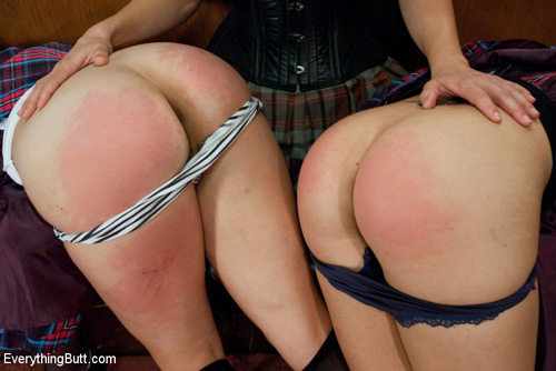Teacher Bobbi Starr spanks two naughty schoolgirls Kiera King and Chloe Camilla