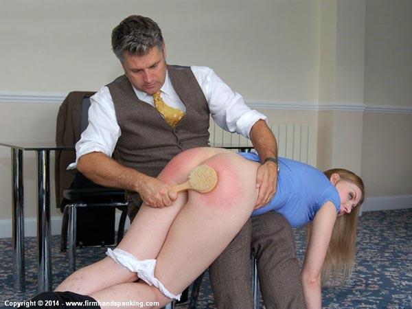 Mr Anderson brings the bathbrush down hard on poor Belinda Lawson's bare bottom
