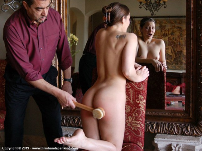 Dani Daniels' nude bath brush paddling at Firm Hand Spanking