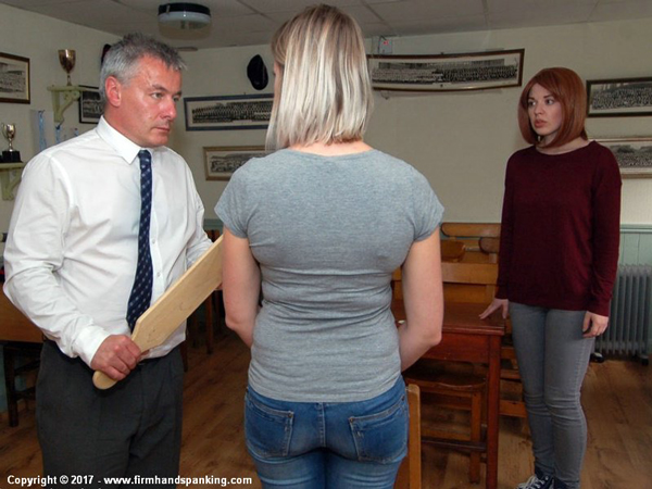 Earl Grey introduces the large wooden punishment board for Belinda Lawson's next punishment in Reform Academy