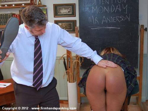 Rhianna Parsons gets her bare ebony bottom spanked by Mr Anderson's slipper