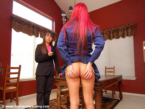 Alison Miller rubs her beautiful bottom after her strapping