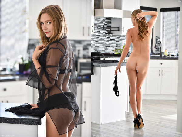 MILF Star Nine teases in the kitchen and shows how spankable she looks
