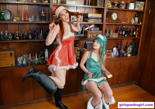 Veronica Ricci and Apricot Pitts are two spanking Christmas elves