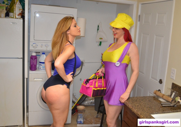 Angela Sommers and Amelea Dark in Bad Plumber Day 4 at Girl Spanks Girl