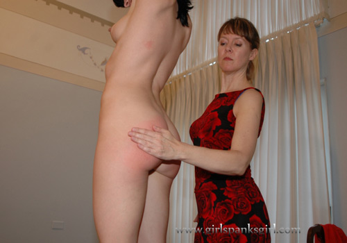 Elise Graves gets a naked spanking from Clare Fonda