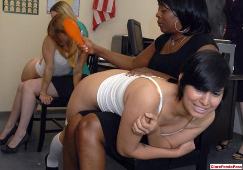 Two naughty schoolgirls get the hairbush OTK in Exclusive Education 5