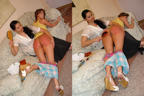 Ariel X helps Chelsea Pfeiffer demonstrate How to Give a Good Spanking