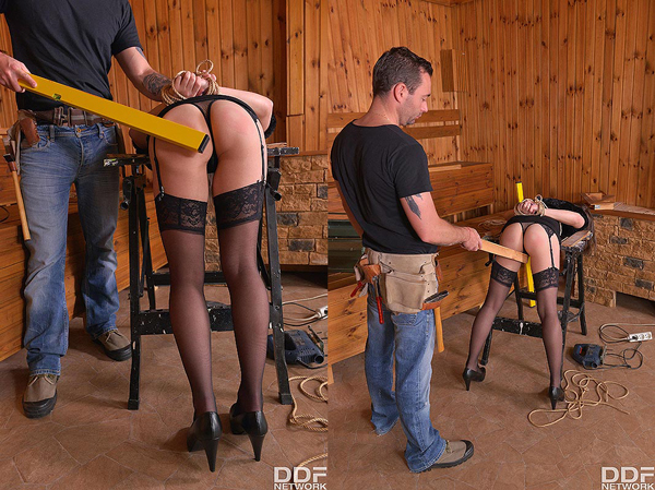 Gabriella Lati spanked by the carpenter in the sauna