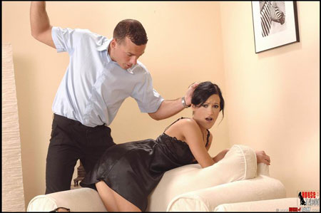 Hottie gets spanked, hairbrushed and fucked by her husband