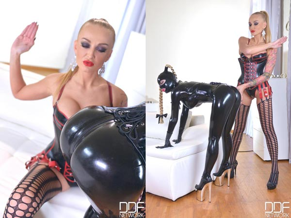 Latex Lucy spanked by Mistress Kayla Green