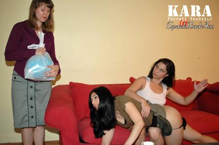 Aunt Gwen watches Tracy spank naughty Kara