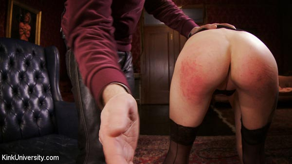 Cadence touches her toes so that Danarama spanks her lovely bottom